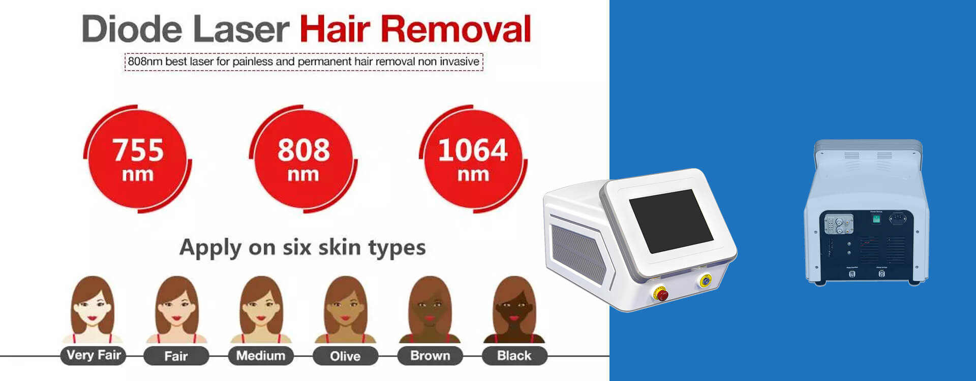 3 In 1 Wavelength Diode Laser Hair Removal Machine For The African American