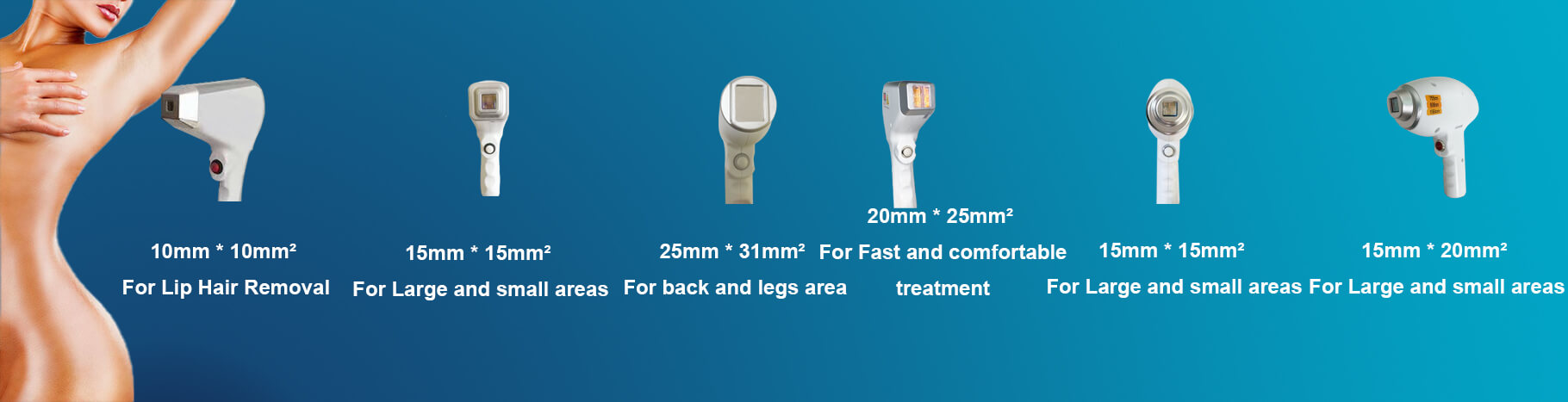 6 Kind Of Handpiece Spot Sizes For Your Option According To Your Needs