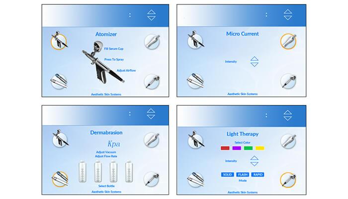 Oxygen jet peel machine's screen interface